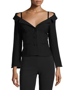 Angelina+Off-the-Shoulder+Blazer+by+cinq+a+sept+at+Neiman+Marcus.