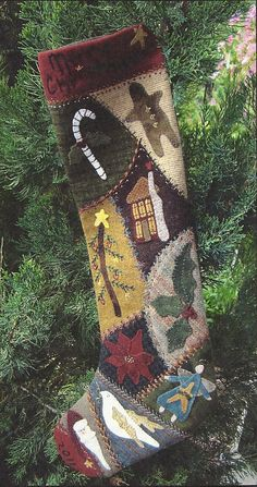 Primitive Folk Art Wool Applique Pattern:  Crazy Wool CHRISTMAS STOCKING. $9.75, via Etsy.