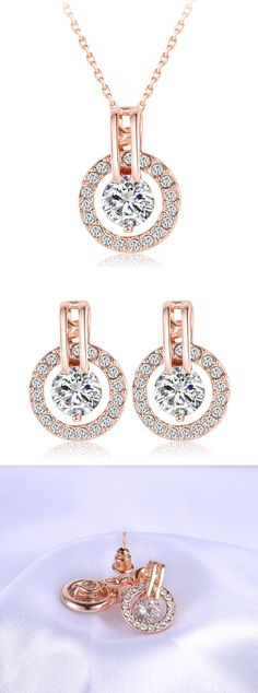 Only $15.99 + Free US Shipping! Rose Gold Necklace / Earring Bijouterie Set. Buy yours now at Sale price from www.FamilyDeals.store