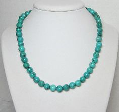 Genuine Turquoise Beaded Single Strand Necklace by LuvaBead