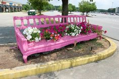 ❤️ Pink planter bench painted with an outdoor grade paint & upcycled into a delightful planter for your garden. Holes were cut in the seat and flower pots placed in the holes. This was outside a shop I recently visited (? Big Shanty Antique Market in Kennesaw, GA? - near Atlanta/Acworth). So, don't throw out that old piece of furniture…just paint it. Love this! ~ Between Naps on the Porch