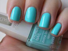 BRIGHT BLUE nail polish.