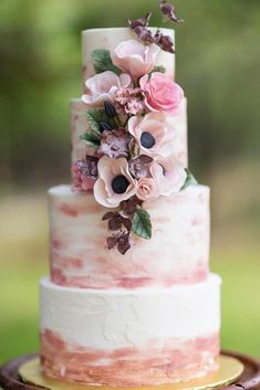 Modern Wedding Cakes Watercolor wedding cake idea - four-tier wedding cake with pink watercolor details and flowers {Batter Up Cakery} - 4 Tier Wedding Cake, Wedding Cake Prices, Buttercream Wedding Cake, Wedding Cake Rustic, Cool Wedding Cakes, Beautiful Wedding Cakes, Wedding Cake Toppers, Wedding Table, Buttercream Roses