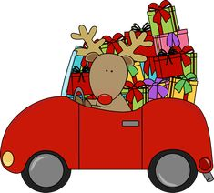Reindeer driving a car full of Christmas gifts.