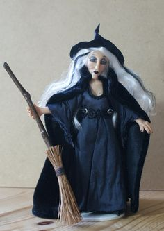 Mariella Moonshadow the Witch, handsculpted miniature doll in 1:12 scale by Jenny Edwards on Etsy.  Fabulous!
