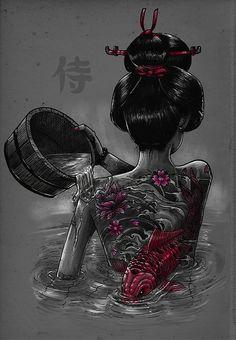 Japanese Tattoos 833377106032713274 - Geisha Bath on Behance Source by Japanese Drawings, Japanese Artwork, Japanese Tattoo Art, Japanese Tattoo Designs, Geisha Kunst, Geisha Art, Geisha Drawing, Geisha Tattoo Design, Geisha Tattoos