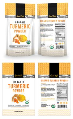 Organic Turmeric Curcumin Powder Label Template Packaging Snack, Medical Packaging, Spices Packaging, Organic Packaging, Pouch Packaging, Food Packaging Design, Organic Turmeric, Turmeric Curcumin, Soaps