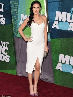 Wonder in white: Rumer Willis led the glam parade at the 2015 CMT Music Awards held at Bri...