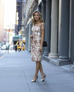 Glamorous White & Gold Rehearsal Dinner Dress. Marchesa Notte Tulle Metallic Embroidered Sheath Dress.
