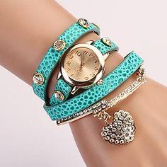 C&D Fashion Women Dress Watches Heart-shaped Diamond Pendant Leather Strap Watches XK-77 - USD $ 26.60