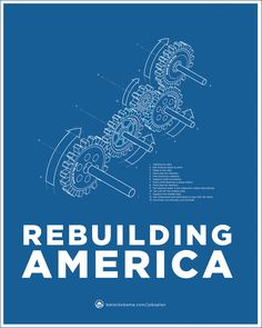 "Obama Jobs Act Blueprint Poster Series ""Gears"" by Aram Asarian at Aram Designs"