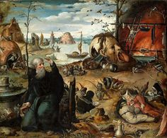 "Jan Mandyn - ""The Temptation of St Anthony"" Liechtenstein Museum. Hieronymus Bosch Paintings, Anthony The Great, St Athanasius, Saint Antony, Temptation Of St Anthony, Graphic Wallpaper, European Paintings, Fantastic Art, Les Oeuvres"