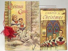 Vintage Christmas Carol books Booklets Lot 2 Caroling Carolers Music Color