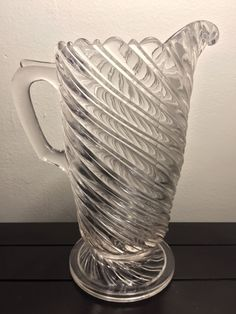 EAPG Double Line Swirl aka Vortex Footed Pitcher Very Uncommon. Two smaller nicks on swirl directly under the handle bridge. Amish Culture, American Press, Early American, Pressed Glass, Old And New, Depression, Pottery, Crystals, Antiques