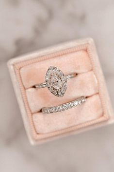 30 Vintage Wedding Rings For Brides Who Love Classic ❤ vintage wedding rings marquise cut white gold diamond halo ❤ More on the blog: https://ohsoperfectproposal.com/vintage-wedding-rings/
