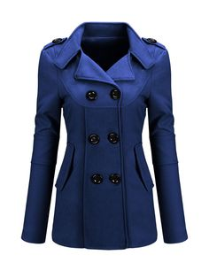 Classical Lapel Double Breasted Flap Pocket Plain Woolen Coat FashionMia Price: $23.95