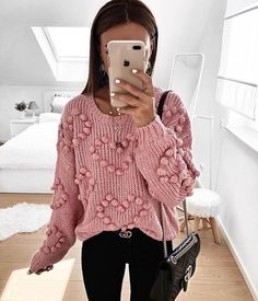 Winter Outfits, Casual Outfits, Cute Outfits, Fashion Outfits, Pink Outfits, Pom Pom Sweater, Knit Fashion, Sweater Fashion, Fashion Fashion