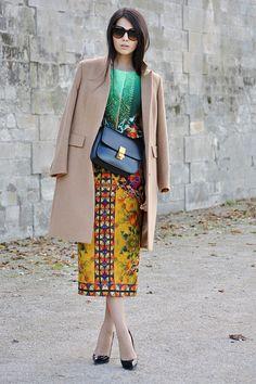 prints & camel coat.