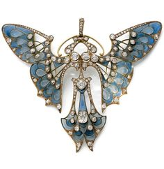 A rare Art Nouveau gold, enamel and diamond butterfly pendant, by Henri Vever, Paris, circa 1900. Designed as a stylised butterfly in 18k yellow gold decorated with plique-à-jour enamel and set with old-cut diamonds. Signed VEVER PARIS. 8.5 x 10cm. #Vever #ArtNouveau #pendant