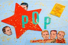 Pop Star Lorette C. Luzajic mixed media collage painting retro pop art original art