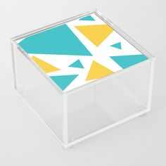 Tri Turquoise and Yellow Acrylic Box by laec | Society6 Jewelry Gifts, Unique Jewelry, Good Advice For Life, Storage Places, Acrylic Box, Turquoise, Yellow, Store, Storage