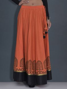 Buy Orange Printed Cotton Long Skirt by Kaanchie Nanggia - Online shopping for Skirts in India | 9587959