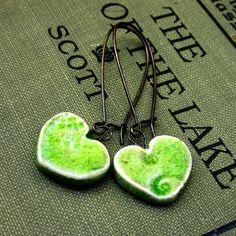 Ceramic Moss Green Heart Dangle Earrings by JeraLunaDesigns, $15.00