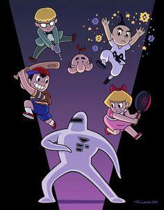 Ness, Jeff, Mr. Saturn, Poo and Paula Vs. Starman.
