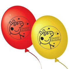 Peppa Pig Balloons - Pack of 10 Printed Birthday Party Decorations (Red/Yellow) Peppa Pig Happy Birthday, Happy Birthday Parties, Pink Birthday, Birthday Party Decorations, Printed Balloons, Foil Balloons, Latex Balloons, Peppa Pig Balloons, Peppa Pig Party Supplies
