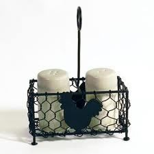 Primitive French Country Farm Chicken Wire Rooster Salt Pepper Holder Caddy | eBay