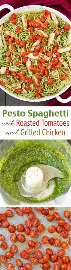 Pesto Spaghetti with Roasted Tomatoes and Grilled Chicken - This is one of my new FAVORITE dinners! Even my 4 year old loved it!