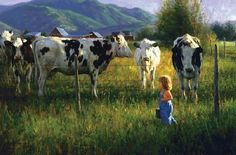 Anniken and the Cows by Robert Duncan is a limited edition reproduction of a Robert Duncan Original Painting. Robert Duncan reproduces some of his paintings as posters, prints, and canvas. Texas Art Depot are authorized dealers for Robert Duncan Studios. Robert Duncan Art, Art Encadrée, Arte Country, Country Style, Creation Photo, Farm Art, Cow Painting, Cow Art, Western Art