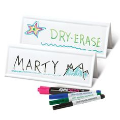 Buy original reusable name card, large two-sided, dry erase table tents. Participants can write their names on our dry erase name cards to save time & materials. Our memory games and interactive tools are ideal for class or work.