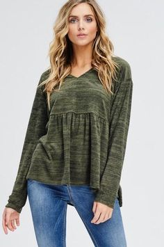 91d1d8a6990c2a Army Green Long Sleeve Sweater Top with Peplum and Hood