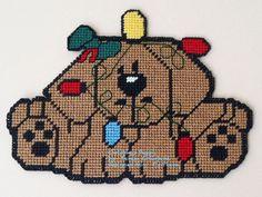 Christmas Puppy 1/2 - Plastic Canvas