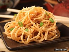 Cold Sesame Noodles   mrfood.com Authentic Chinese Recipes, Easy Chinese Recipes, Asian Recipes, Ethnic Recipes, Oriental Recipes, Asian Foods, Pasta Dishes, Food Dishes, Main Dishes