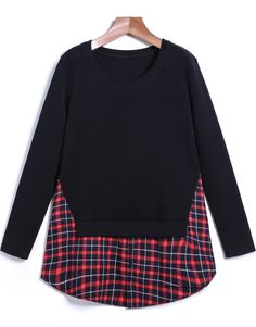 Shop Black Long Sleeve Contrast Plaid Blouse online. Sheinside offers Black Long Sleeve Contrast Plaid Blouse & more to fit your fashionable needs. Free Shipping Worldwide!