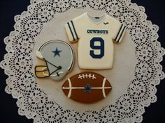 Dallas Cowboy football cookies by ruthiescookies on Etsy. , via Etsy.