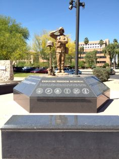 """The Enduring Freedom Memorial located at Wesley Bolin Park in Downtown Phoenix.    """"Recognizing our Arizona military men and women who protect our Nation against terrorism and honoring those who gave their lives."""""""
