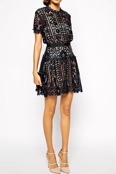Self Portrait Lace A-Line Dress £175.00