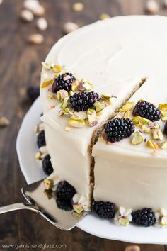 Dessert: This light and tender Pistachio Cake with Honey Cream Cheese Frosting is the prefect treat to enjoy with your friends and family this spring. Baking Recipes, Cake Recipes, Dessert Recipes, Frosting Recipes, Fondant Recipes, Appetizer Recipes, Pistachio Cake, Pistachio Cheesecake, Blackberry Cheesecake