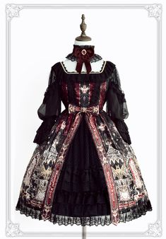 Griffin's Whisper~ Classic Lolita OP Dress With Front Open Design - Pre-order Closed Harajuku Fashion, Kawaii Fashion, Cute Fashion, Asian Fashion, Rock Fashion, Fashion Boots, Mode Lolita, Gothic Lolita Fashion, Fantasy Dress