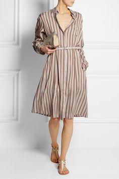 Rochas|Oversized striped brushed-silk shirt dress|NET-A-PORTER.COM