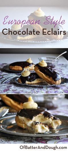 How to make perfect chocolate eclairs. Buttery logs of pastry filled with luscious vanilla pastry cream & topped with rich chocolate glaze. Brownie Desserts, Oreo Dessert, Mini Desserts, Chocolate Eclair Dessert, Coconut Dessert, French Dessert Recipes, Delicious Desserts, Gourmet Desserts, Plated Desserts