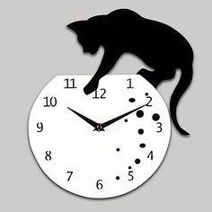 """12 """"H vilain chat acrylique Horloge murale avec cadran de bricolage et de la fonction mains"""