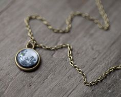 Full Moon necklace - Tiny pendant - Space jewelry - Midnight (N083)