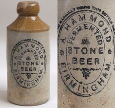 Victorian stoneware ginger beer bottle: Hammond, Birmingham