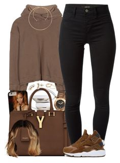 """Hot Chocolate"" by oh-aurora ❤ liked on Polyvore featuring Haider Ackermann, Bertha, Yves Saint Laurent, J Brand, NIKE, Nadri, Shay, Maison Margiela, women's clothing and women's fashion"
