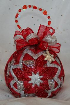 www.unclebuyme.com  Quilted Ornaments Quilt Ball Ornaments Red Silver by unclebuyme, $22.00