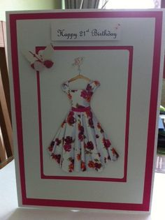 Made like a shadow box containing an actual dress for her to wear. 18th Birthday Cards, Happy 21st Birthday, Birthday Cards For Women, Handmade Birthday Cards, Greeting Cards Handmade, Pinterest Birthday Cards, 21 Cards, Quilling Cards, Scrapbook Cards